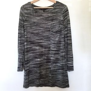 BCBG MaxAzria Black White Space Dye Tunic Dress S